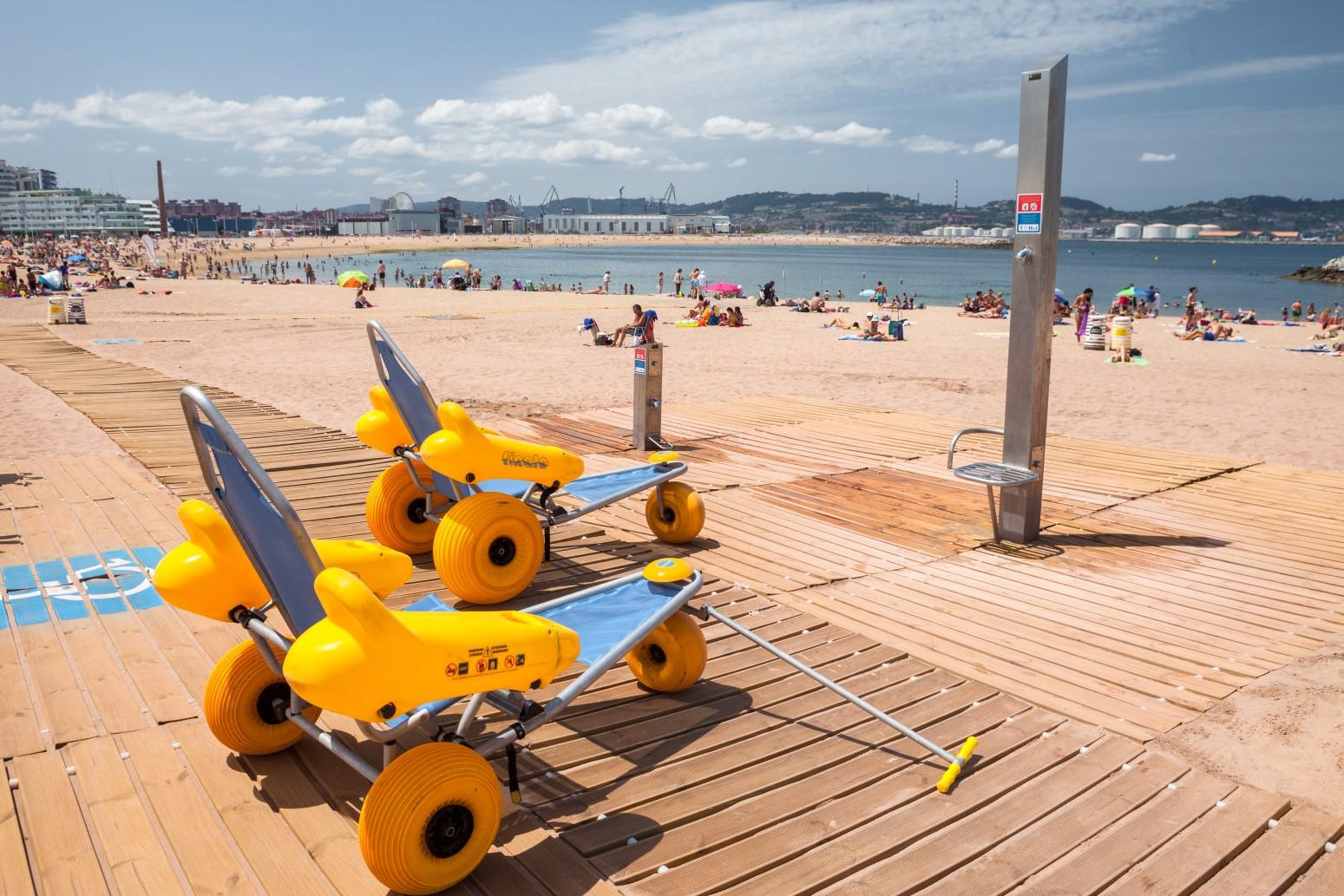 Equipamiento accesible de la playa de poniente | Web de Gijón